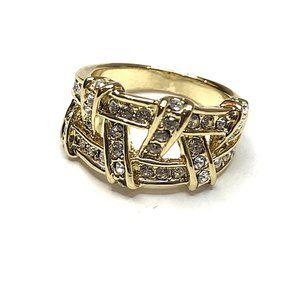 Gold tone double criss-cross band ring size 6
